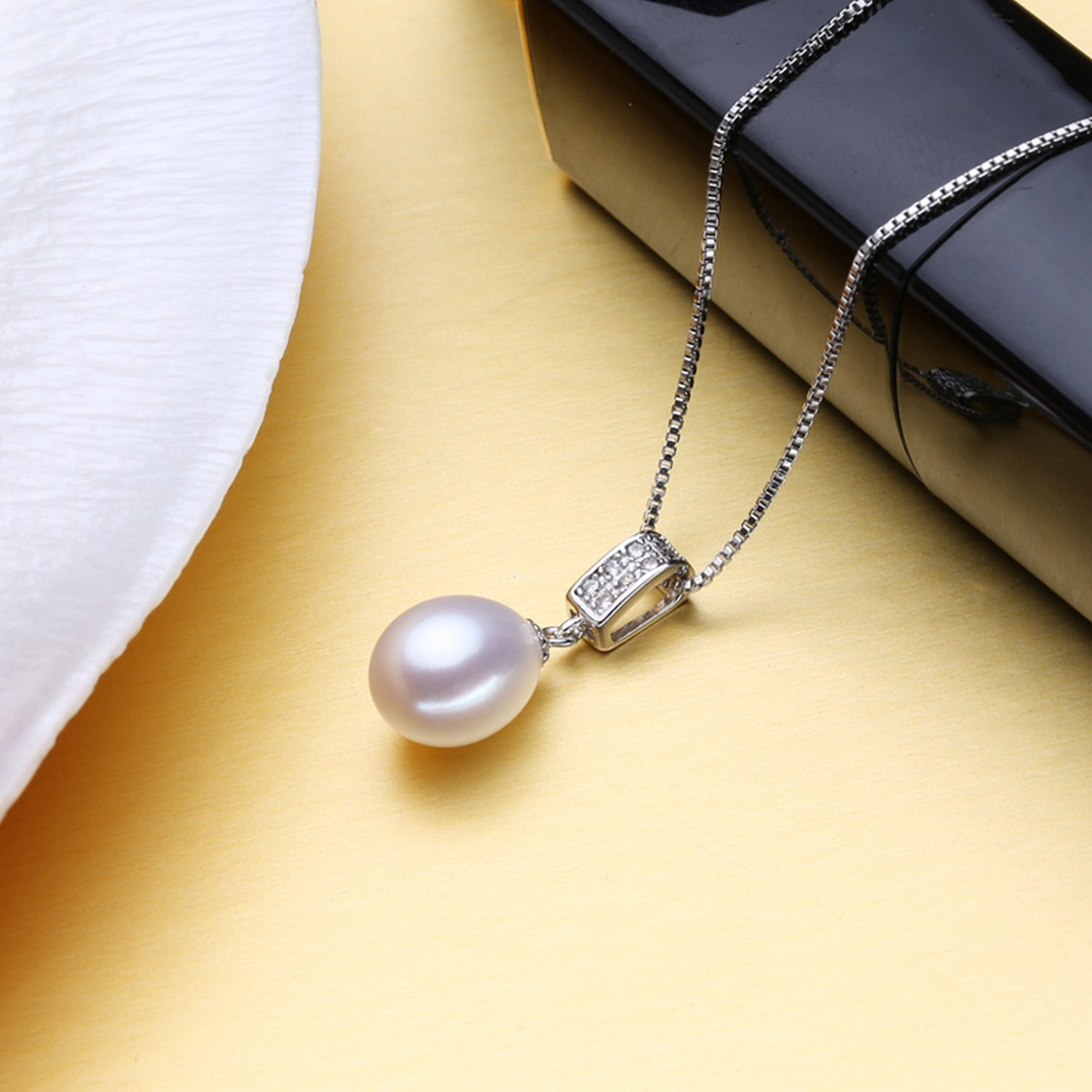 CS-DB Jewelry Silver Vintage Pearl Fashion Design Chain Charm Pendants Necklaces