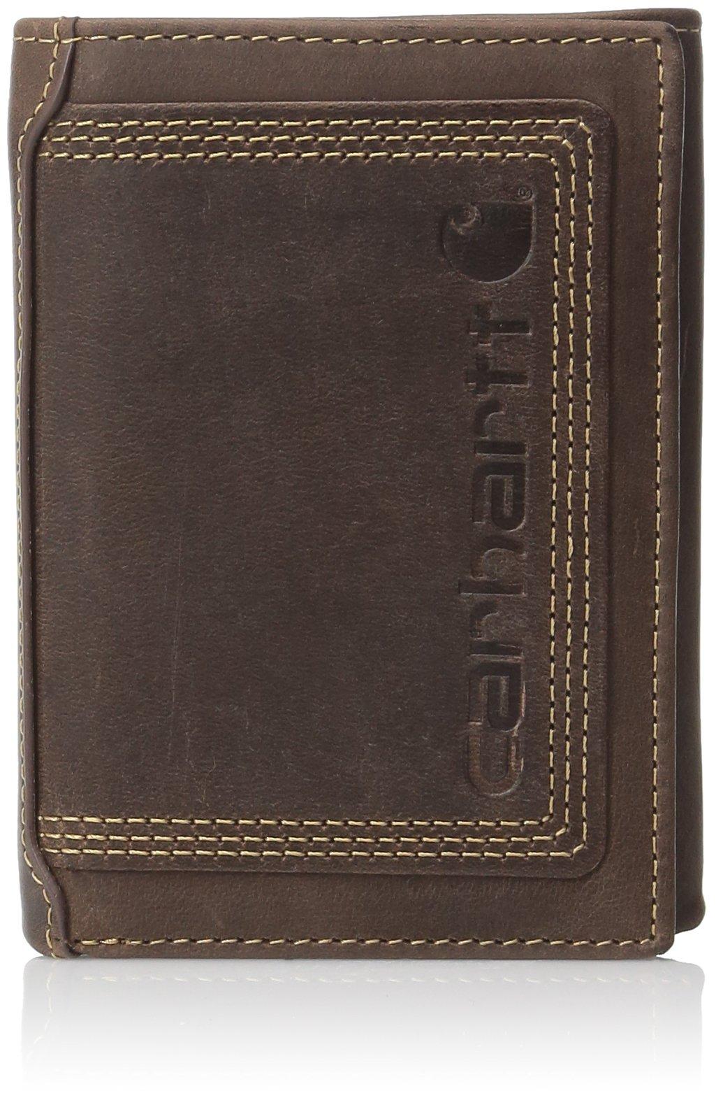 Carhartt Men's Trifold Wallet, Top Grain Brown, One Size by Carhartt