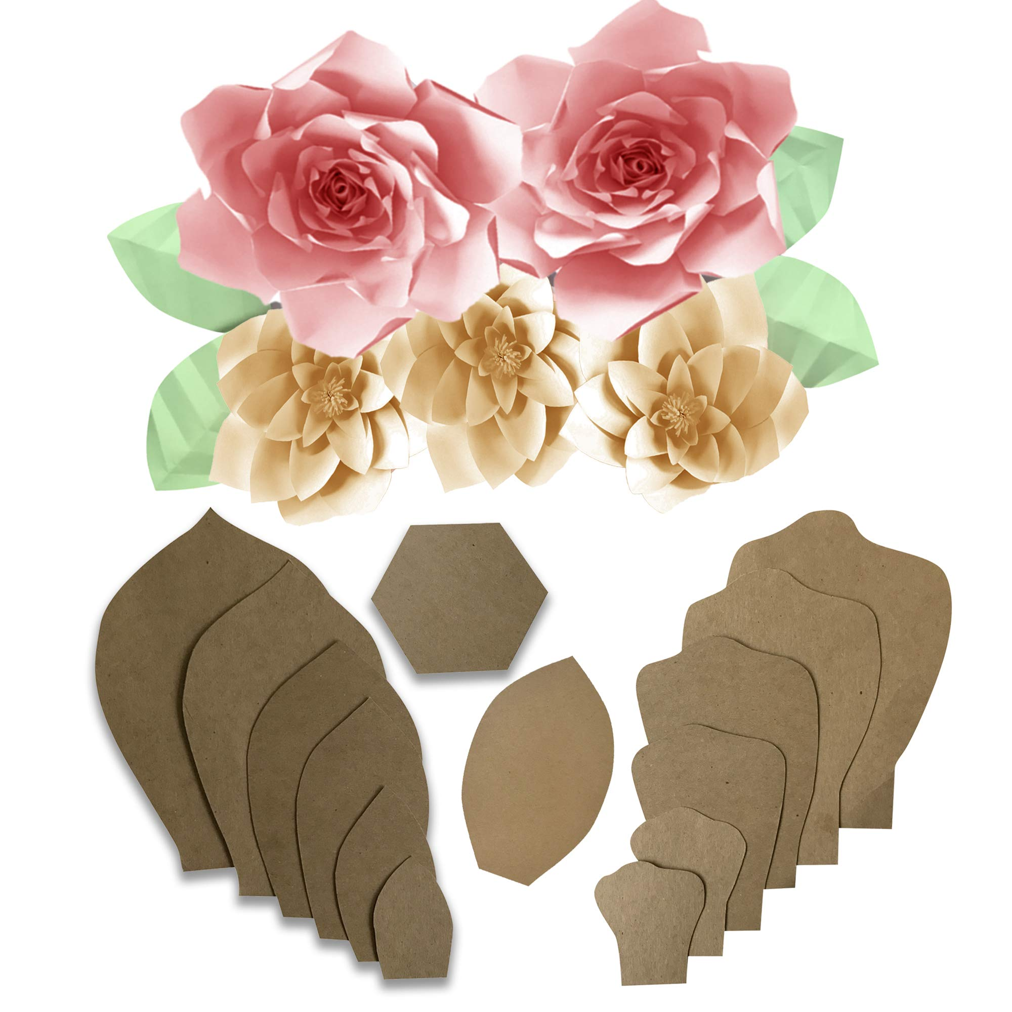 Paper Flower Template Kit - Make Your Own Paper Flowers - Paper Flowers Decorations For Wall - Make Unlimited Flowers - DIY Do It Yourself - Make All Sizes (2- Pack (Daisy/Gardenia))