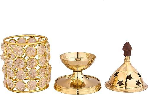 Shubhkart Akhand Diya Decorative Brass Crystal Oil Lamp Holder Lantern Puja Lamp