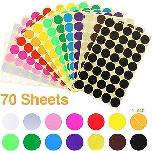JANYUN 3200 Pcs 1 Inch Round Coding Circle Dot Labels, 16 Colors