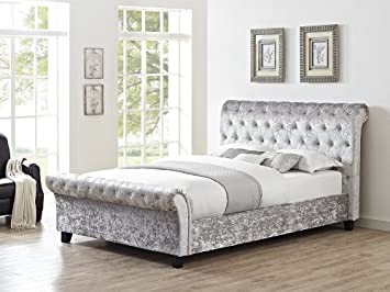 The Look For Less Serenity Silver Crushed Velvet Fabric Bed Frame