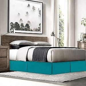 Bed Skirts Queen - Queen Bed Skirt with 8 Pins - Dust Ruffles for Queen Beds – Microfiber Bedskirts Queen Size - Queen Bed Skirt 14 Inch Drop –Teal Blue