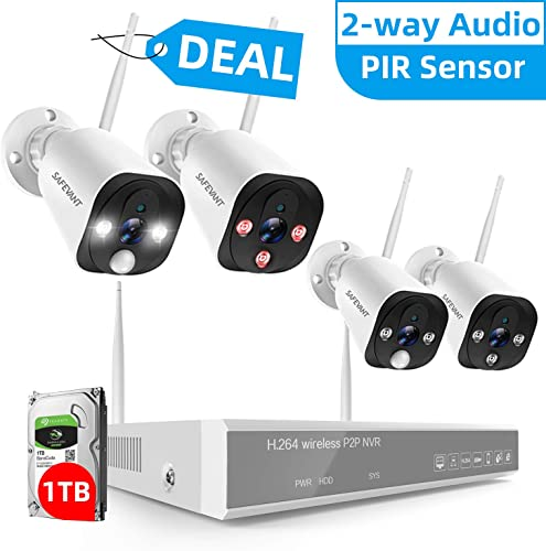 2-way Audio Full HD 1080P Wireless Security Camera System, SAFEVANT 8CH WiFi NVR Kits with 1TB Hard Drive, 2 PIR Floodlight Outdoor Cameras, 2 Indoor Standard Cameras, PIR Motion Detection Waterproof