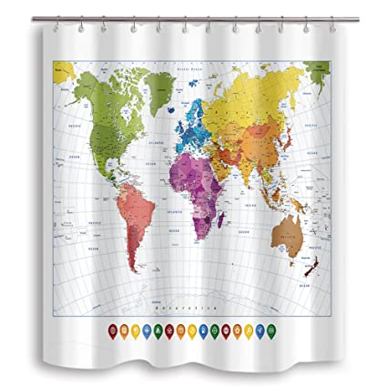 NYMB Colorful World Map Mildew Resistant Fabric Shower Curtain, Kids  Education Shower Curtains for The Bathroom, Stainless Steel Hooks Included,  ...
