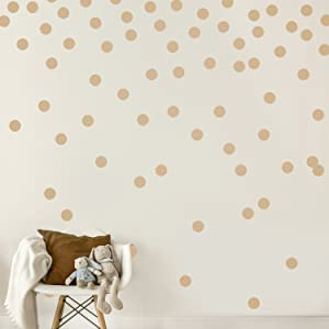 Light Brown Wall Decal Dots (200 Decals)   Easy Peel & Stick + Safe on Walls Paint   Removable Matte Vinyl Polka Dot Decor   Round Circle Art Glitter Sayings Sticker Large Paper Sheet Set Nursery Room