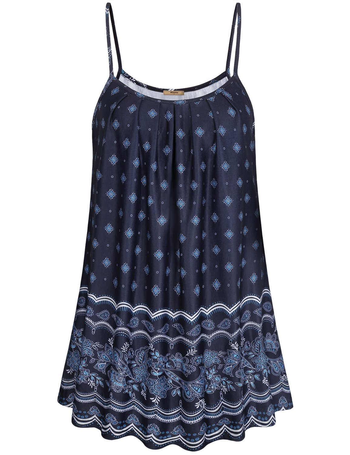 Miusey Paisley Shirt for Women, Ladies Cute Flowy Tops Pleated Neckline Printed Patterned Bohemian Swing Fit and Flare Camisoles Dress Breezy Perfect Cool Style Black L