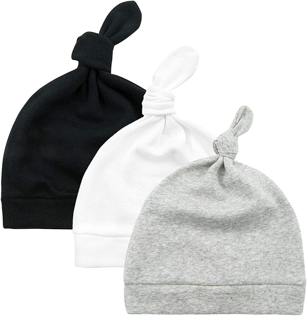 Pesaat Newborn Hospital Hat 0-12Months Preemie Boys Girls Beanie Solid Infant Baby Hats Autumn Winter