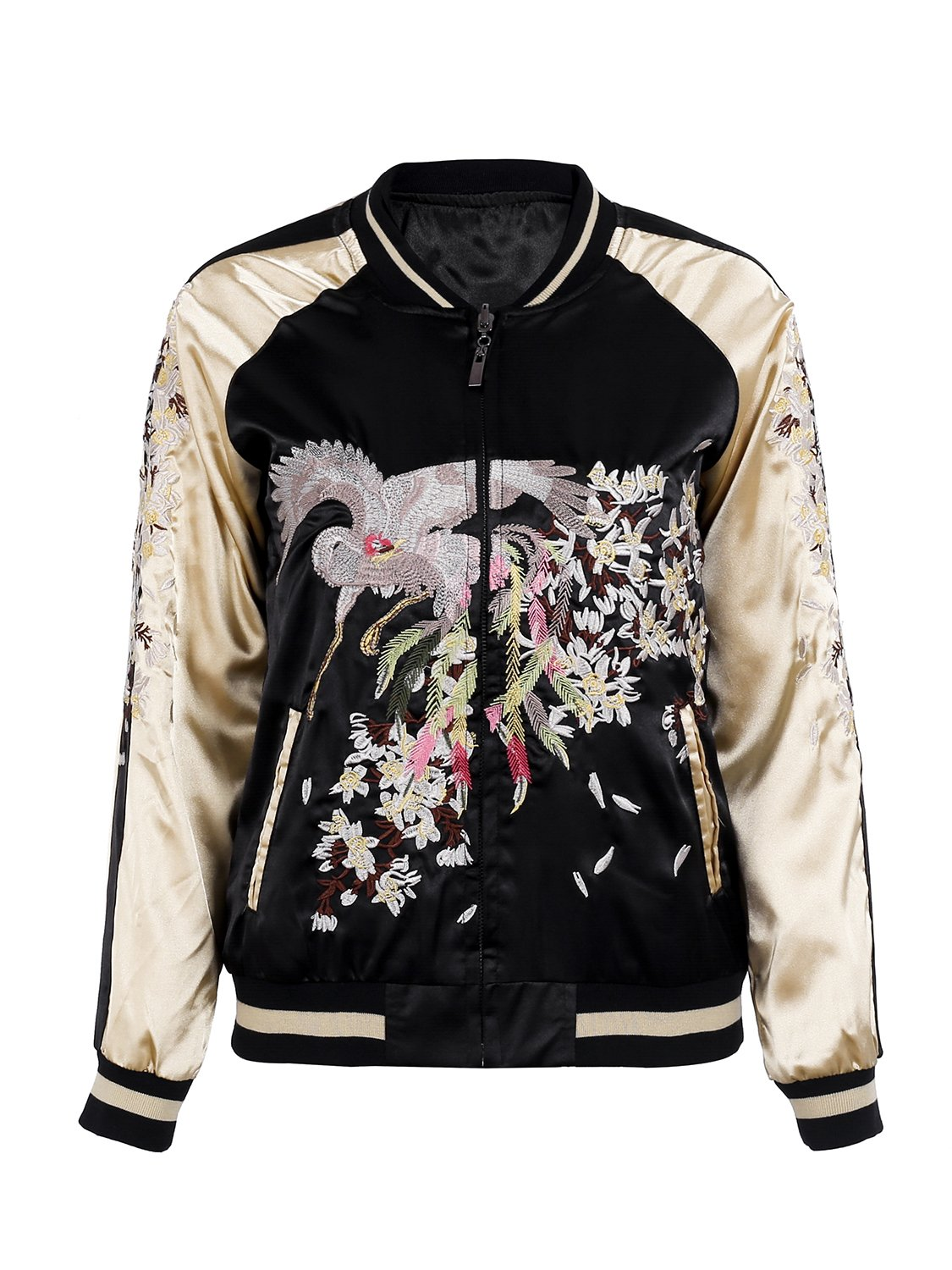 Simplee Women's Casual Floral Embroidery Reversible Satin Bomber Jacket OW506
