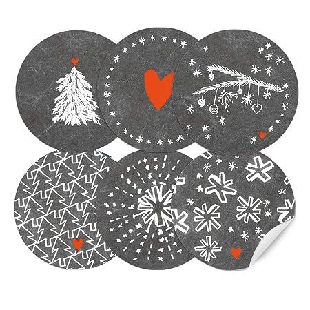 Gebastelte Weihnachtsdeko.Amazon De 24 Weihnachtsdeko Aufkleber Grau Weiß Im Handlettering