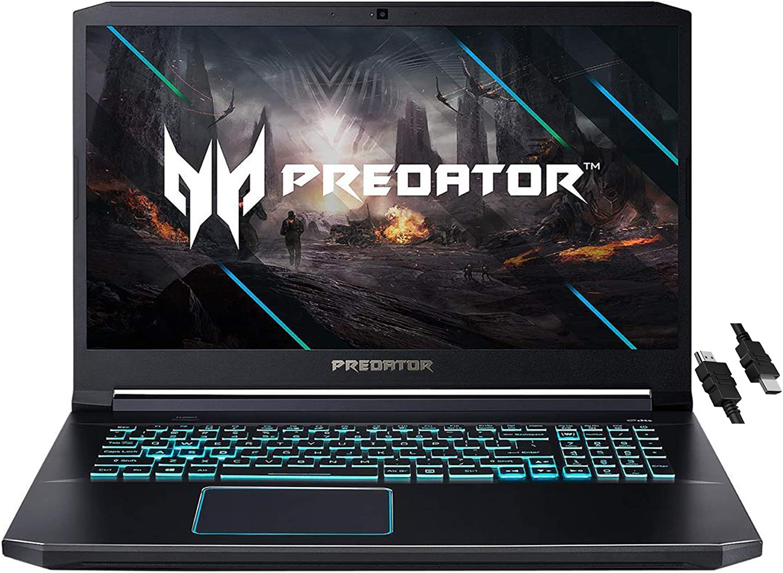 "2021 Flagship Acer Predator Helios 300 Gaming Laptop 17.3"" FHD 144Hz IPS Display 10th Gen Intel 6-Core i7-10750H 16GB RAM 1TB SSD GeForce RTX 2060 6GB Backlit USB-C Wifi6 Win10 + iCarp HDMI Cable"