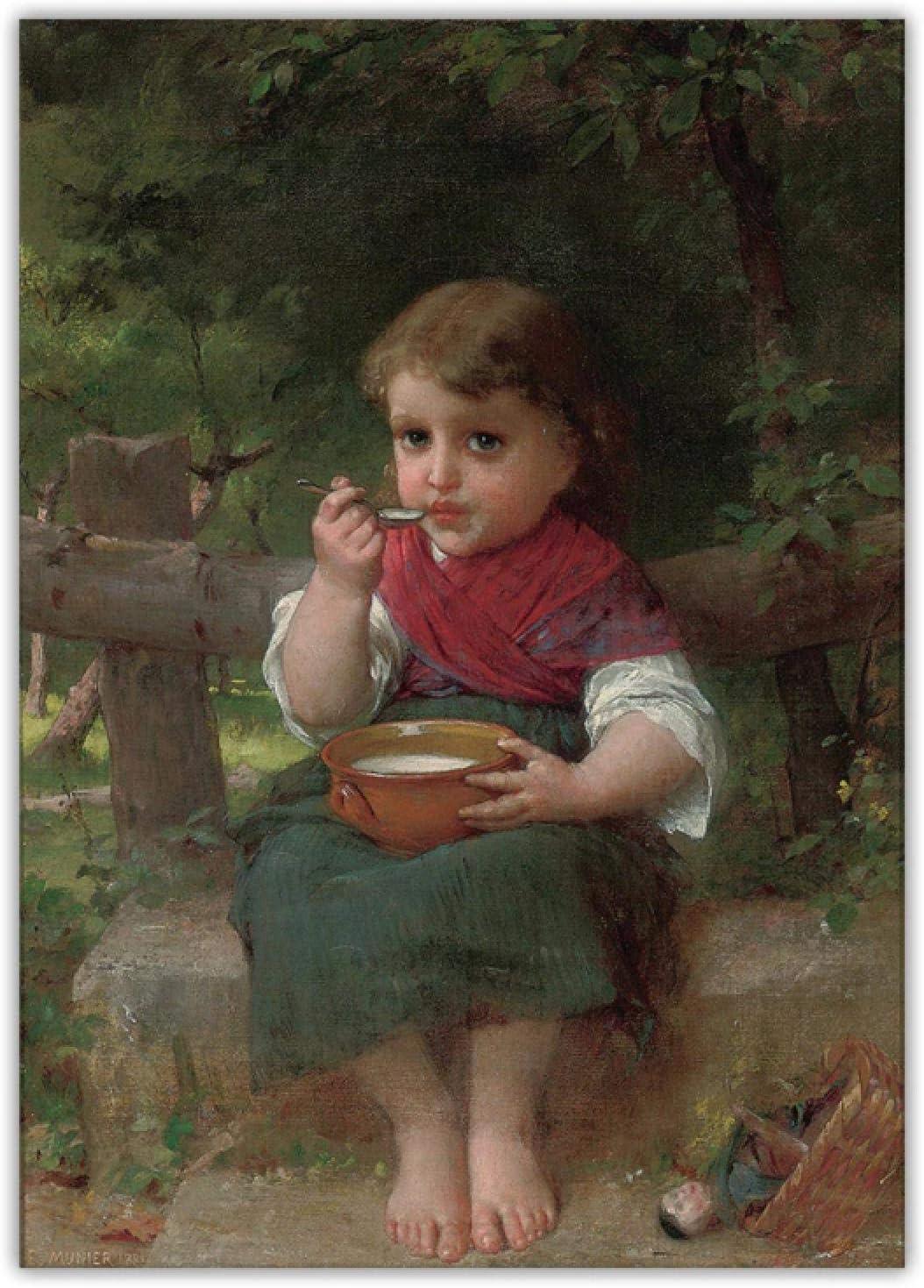 ZQXXX Emile Munier 《Un cuenco de leche》 Pintura en lienzo Recuerdos de la infancia Fondo Habitación infantil Decoración para el hogar -50x75cm Sin marco