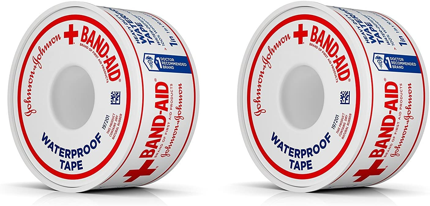 Johnson & Johnson First Aid Waterproof Tape (1-Inch x 10-Yards) (Pack of 2): Health & Personal Care