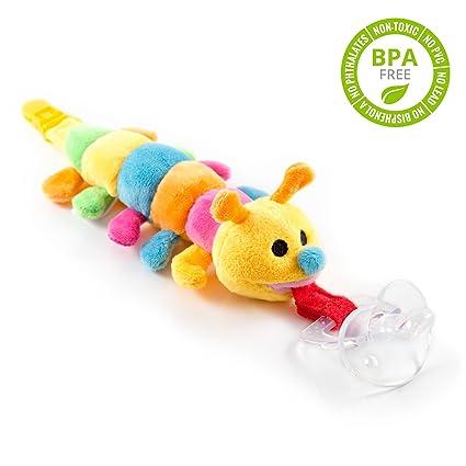 Chupete con oruga BabyHuggle - Chupeta con peluche para bebé, Juguete de felpa suave con chupón separable de silicona, Chupador con correa, cierre & ...