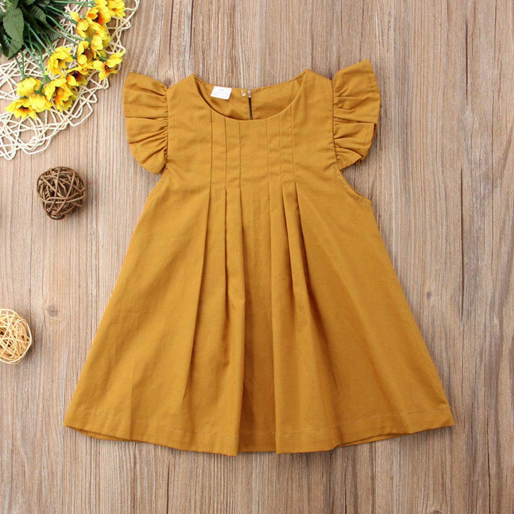 YWLINK Baby Clothes Girl Dresses,Toddler Kids Baby Girl Solid Ruffled Fly Sleeve Vintage Princess Dresses Clothes Girls Short-Sleeved Color Dress Colorful Tutu Christening Gowns♛Baby Girls 0-24m♛