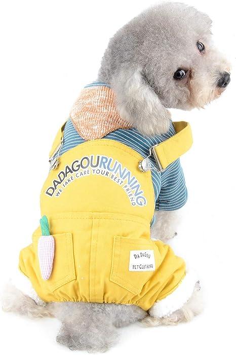 SELMAI Rayas Denim Abrigos para Perros Pequeños Mediano Lana Ropa para Gatos Trajes Cálido en General Ropa de Invierno para Mascotas Jumpsuits ...