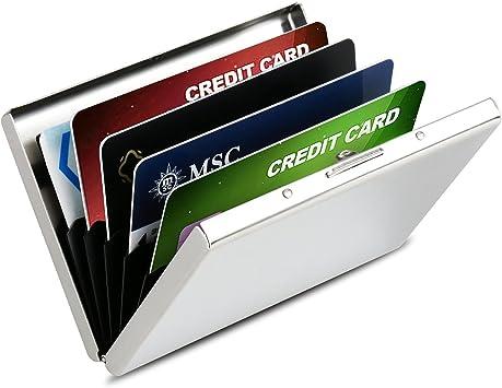 Tarjetero de Crédito Aluminio Cartera de Acero Inoxidable HOMETEK RFID Caja Tarjeta Proteger la Lnformación de Crédito Capacidad 6 Tarjetas para Hombres y Mujeres(Plata): Amazon.es: Equipaje