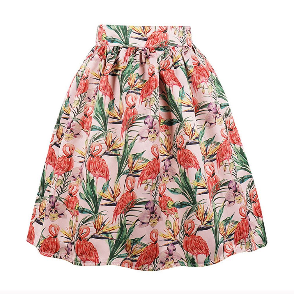 Killreal Women's Vintage Knee Length Flamingo Printed Casual Flare Pleated Swing Skirt Pink Medium