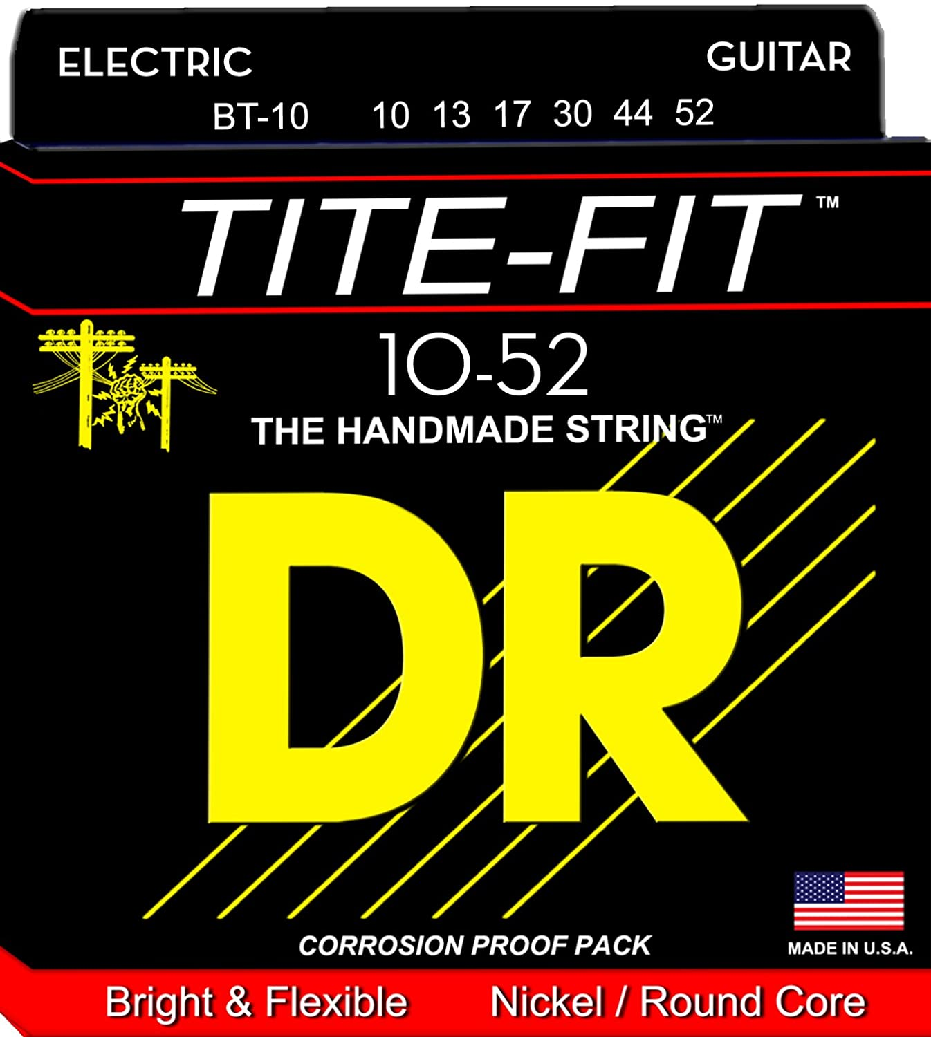 DR Strings Tite Fit Electric Round Core 10-52 DR Music BT-10