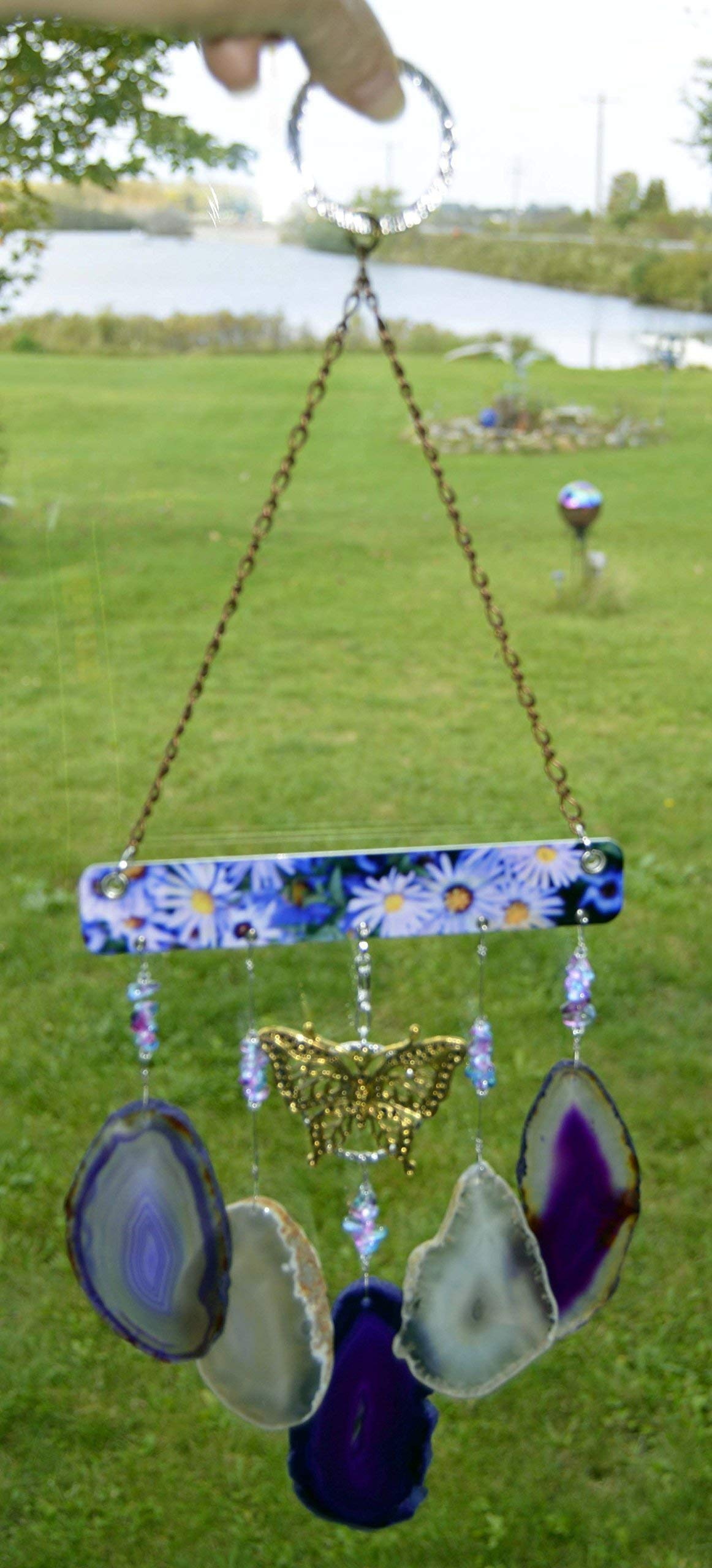 wind chime Agate geode windchime deep purple and light amber/gray tone stone sun catcher wind chime mobile window decor hanging beautiful golden butterfly