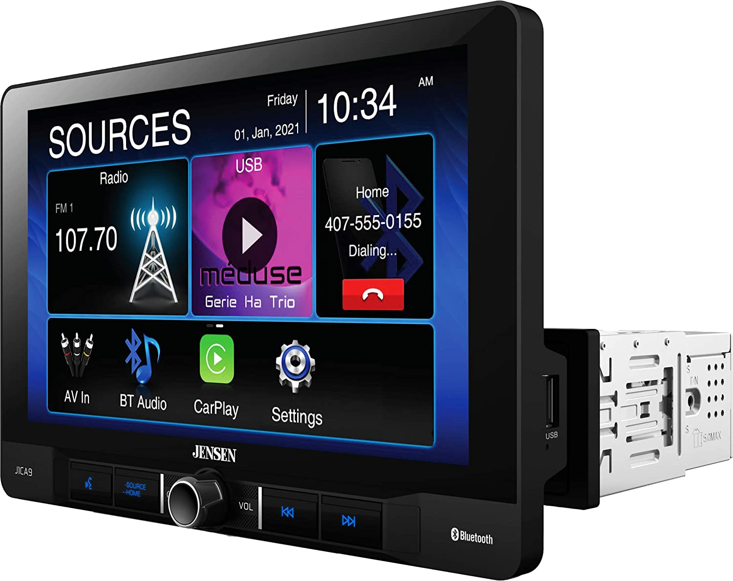JENSEN J1CA9 9-inch Touch Screen Single DIN Car Stereo Media Receiver | Apple CarPlay Android Auto | Bluetooth | USB