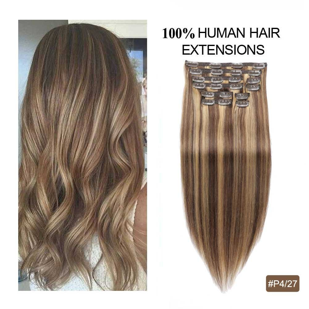 Remy Clip on Hair Extensions, Re4U Balayage Hair Extensions Human Hair 14inch Clip in Extensions Highlight Blonde Multi Color Mixed Chocolate Brown(#4/27 10pcs 14'' 110g) by Re4U Hair