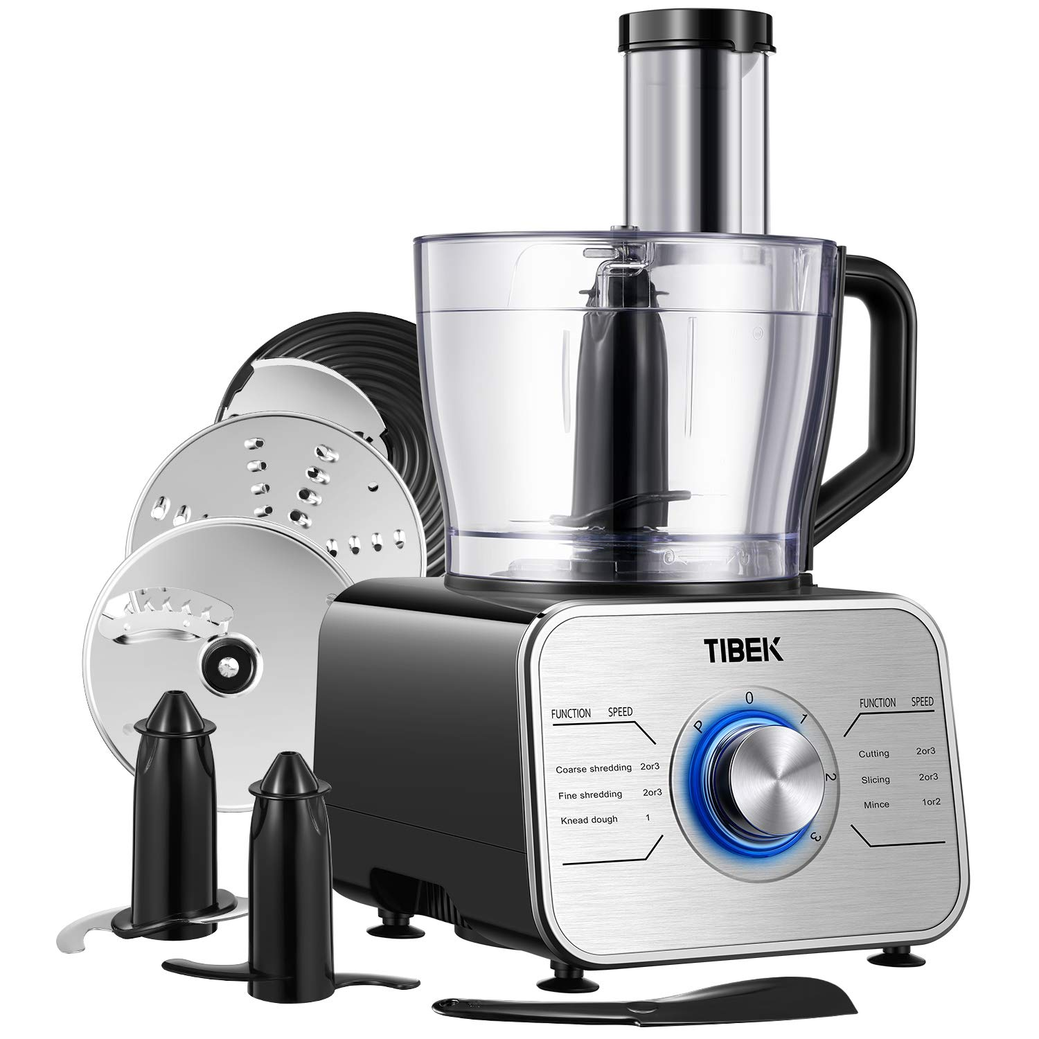 Food Processor 12-Cup, Multi-Function Food Processor 6 Main Functions with Chopper Blade, Dough Blade, Shredder, Slicing Attachments, 3 Speed 600W Powerful Processor, Silver Tibek