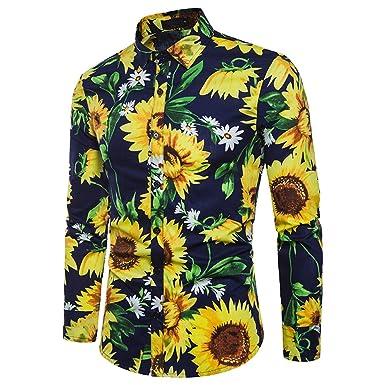 Yvelands Camisas para Hombre, Casual, Hombres Camiseta de Solapa de impresión de Girasol Casual Patchwork O-Cuello Camiseta de Manga Larga.: Amazon.es: Ropa ...