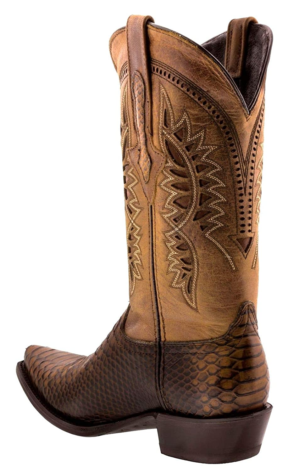 Mens Python Design Leather Cowboy Western Boots Brown Black Sand Chedron Honey