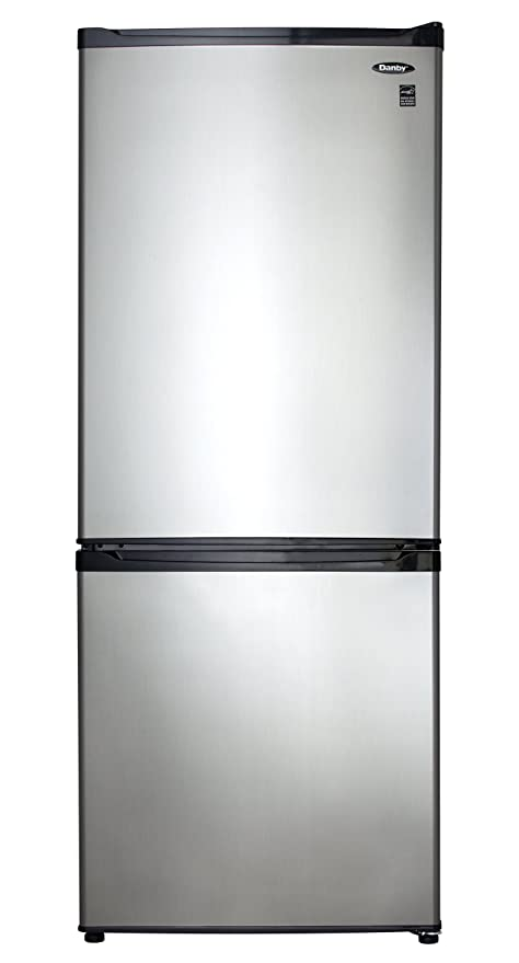 9 2 Cu  Ft  Bottom Mount Freezer- Black with Stainless Steel