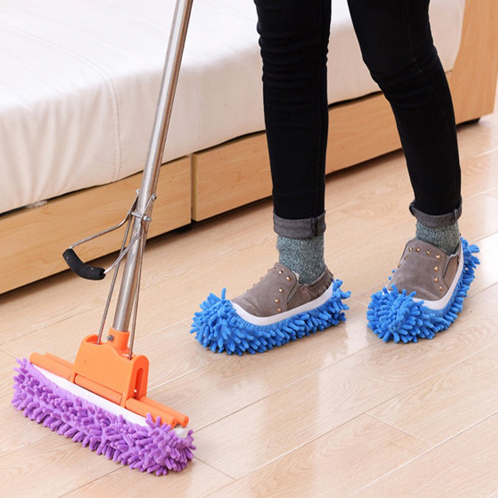 Lanting Dusting Mop Slippers, 5 Pairs Microfiber Sweeping Slippers House Floor Polishing Slippers Dusting Cleaning Foot Socks Shoes by Lanting (Image #4)