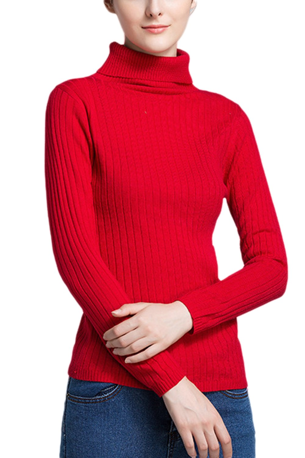 Women Long Sleeved Turtleneck Knitted Slim Base Shirt Sweater Top CAFESPWLKJ006