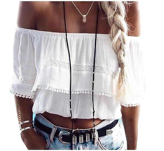 829686676d4 RDHOPE-Women Flounced Off Shoulder Pure Color Lace Tops T Shirts Blouse  White S