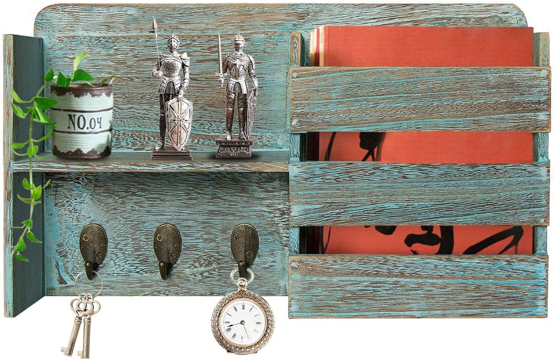 Honest Torched Wood Rustic Wall Mounted Key & Mail Holder,Organizer with 3 Key Hooks Shelf for Entryway or Mud Room Holds Documents, Bills, Letters, Keys(Rustic Blue)