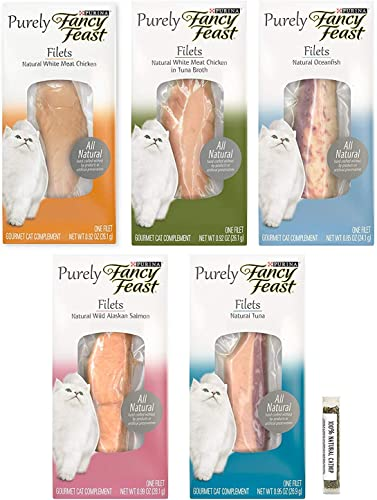 Purely Fancy Feast Filets Natural Wet Cat Food Complement Variety Pack 5 Total Filets
