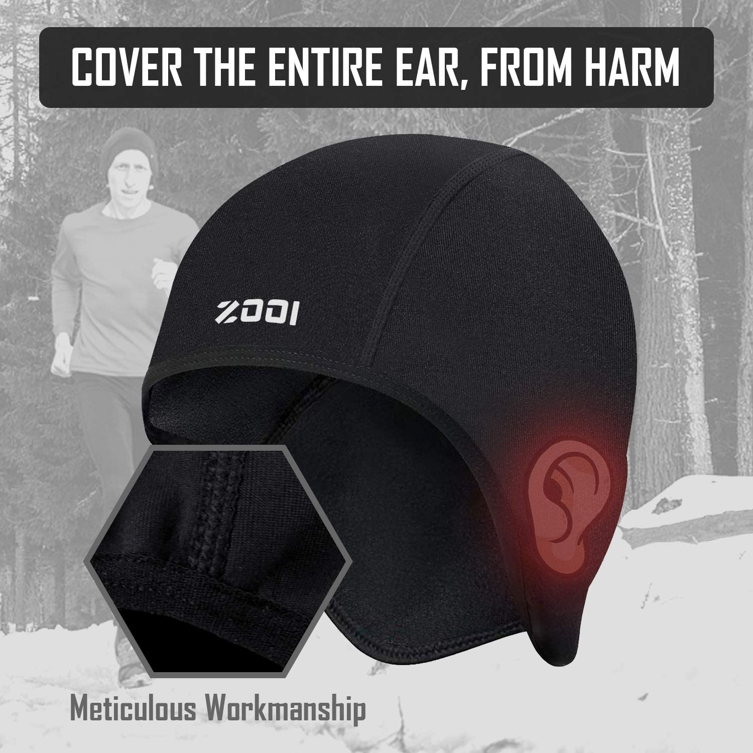 Bicycle Skull Hat with Windproof Thermal Fleece Wolly Inner for Outdoor Sports Winter Runing /& Cycling Beanie Hat Gifts for Men Women Head Ear Warmer Under Bike Helmet Liner ZOOI Cycling Skull Cap