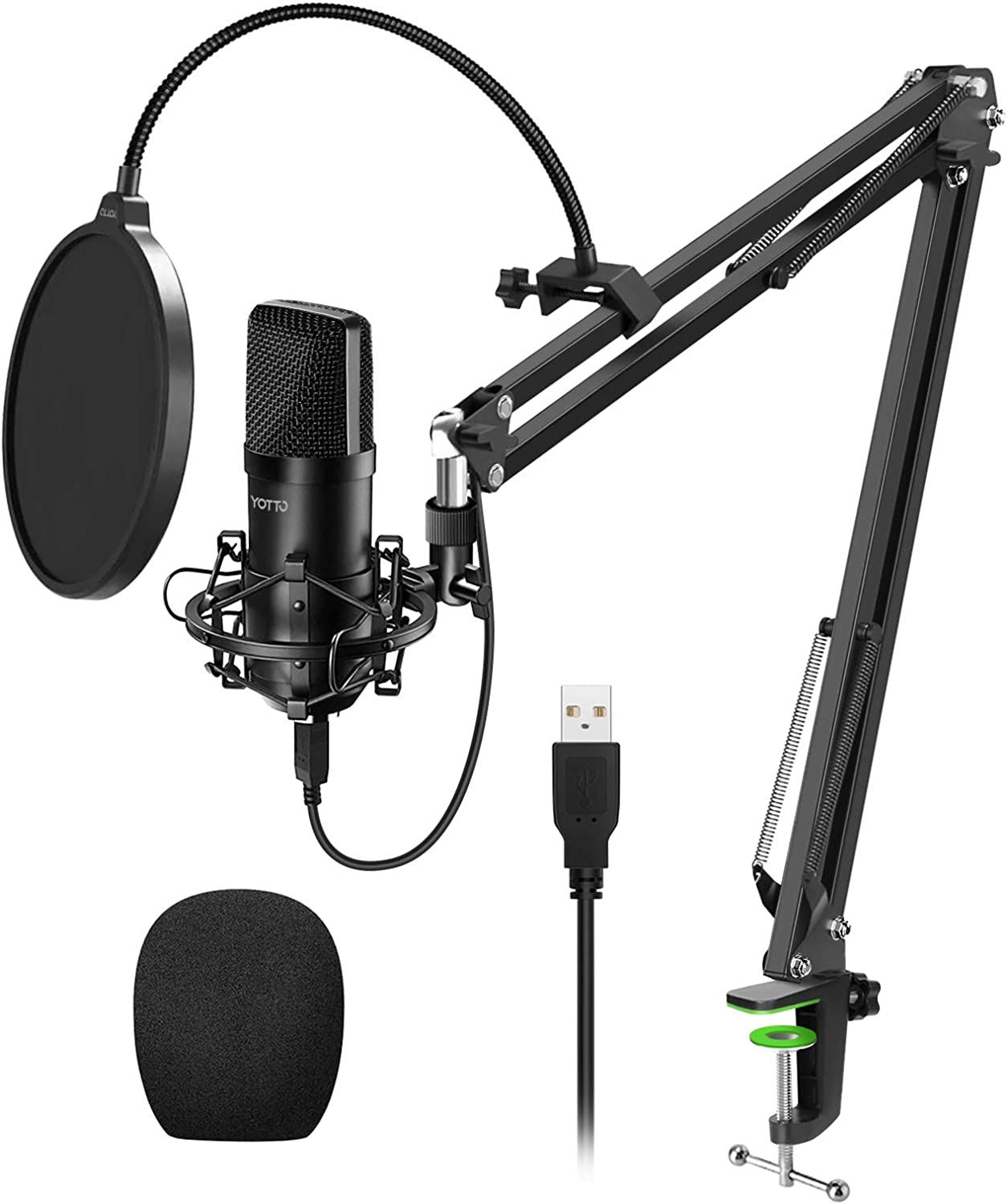 Streaming Shock Mount YouTube Recording with Pop Filter YOTTO USB Microphone 192KHZ//24BIT Condenser Cardioid Microphone Plug /& Play PC Computer Mic for Podcast Gaming Mic Stand