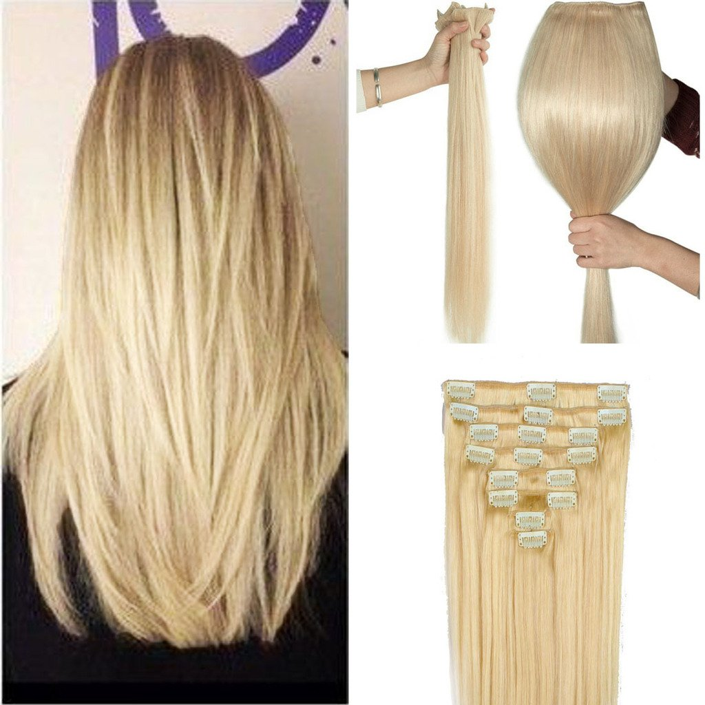 FUT Womens Full Head Huamn Hair Extensions Clip on Thick (8pcs 18clips , 20'' , 150g , Bleach Blonde #613)