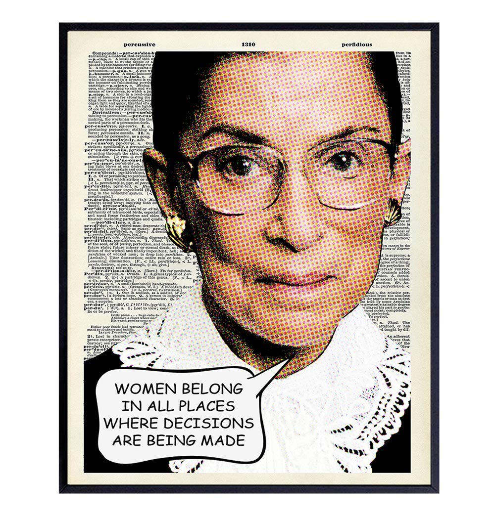 Ruth Bader Ginsburg Wall Art Print - Upcycled Dictionary Pop Art Photo - Great Home Decor or Gift For Lawyers or Attorneys - Ready to Frame (8X10) Vintage Photo - RBG