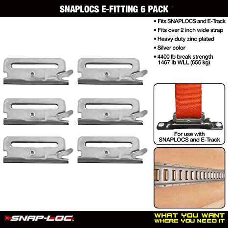 Snaplocs E-Fitting 6 Pack Fits 2 Inch Wide Straps And Connects To Snaplocs And E-Track SLAEI6