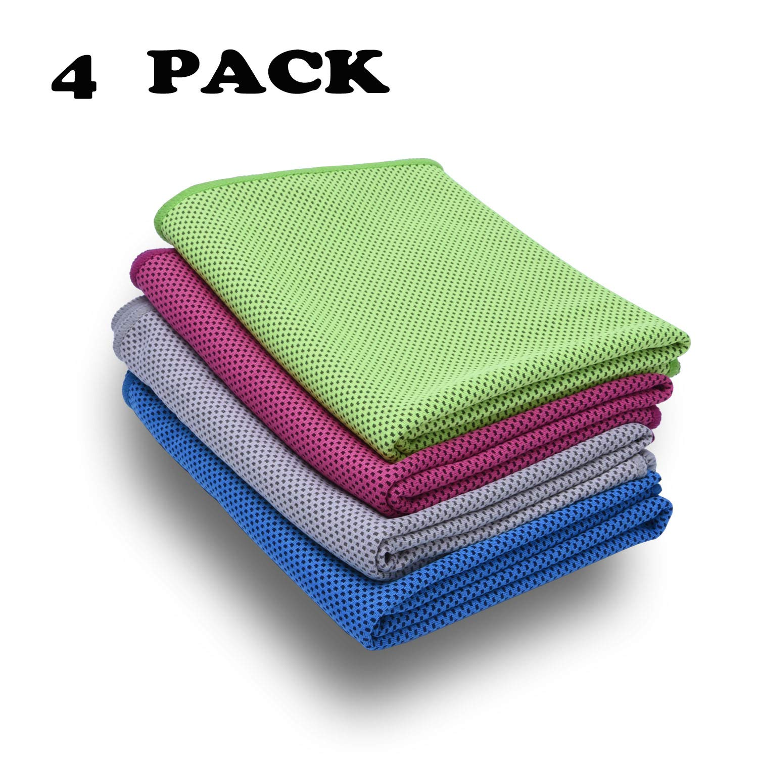 Cooling Towel, 4 Pack,Stay Cool for Travel Camping Golf Football & Outdoor Sports, Instant Cooling Relief & Ice Cold Quickly, Enduracool Towels for Neck & Head