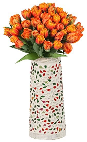 SouvNear 5 7 quot  Glass Mosaic Flower Vase   Pot   Multi   Color Decorative  Centerpiece for. Amazon com  SouvNear 5 7  Glass Mosaic Flower Vase   Pot   Multi
