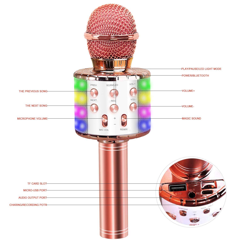 Microfono Inal/ámbrico Karaoke 4 en 1 Reproductor port/átil con Altavoz y LED para cantar y grabar Micr/ófono Karaoke Bluetooth Oro rosa Compatibile con Android//iOS//PC Tel/éfono Inteligente