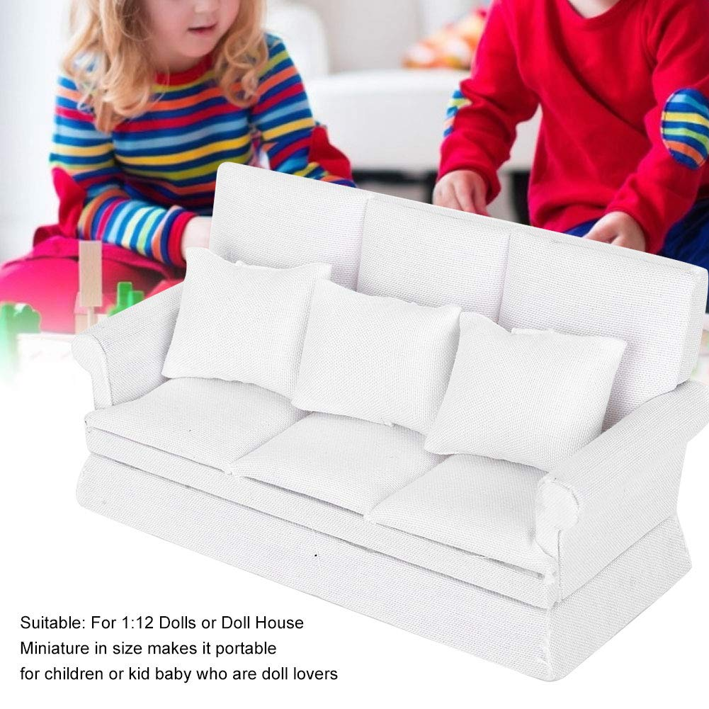 SPING DAWN Dollhouse Doll Furniture Furniture White Fabric Sofa 1//12 Miniatures Doll House Furnishings 3Pc Sofa Kit with Pillow Miniature Toys Couch Chairs for Living Room White