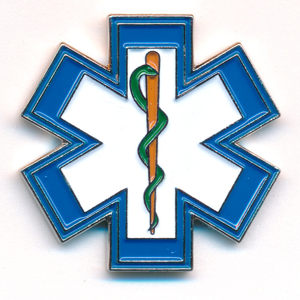 Star of Life EMT Medical Rettungsdienst 3D Metal Button Pin Badge 0500 Import / Hegerring