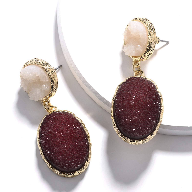 MVCOLEDY Resin Earrings Bohemian Style Drop Dangle Earrings Druzy Stud Earrings for Women Fashion Jewelry (Purplish Red)