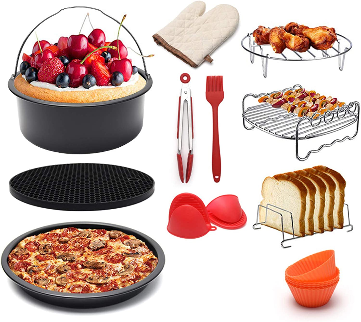 WLKQ 12 Pcs Air Fryer Accessories, Pizza Tray, BBQ Rack, Toast Rack, Cooking Tongs, for Gowise Phillips Cozyna Fits All 5.2QT - 5.8QT Air Fryer, 7In Deep Fryer Accessories