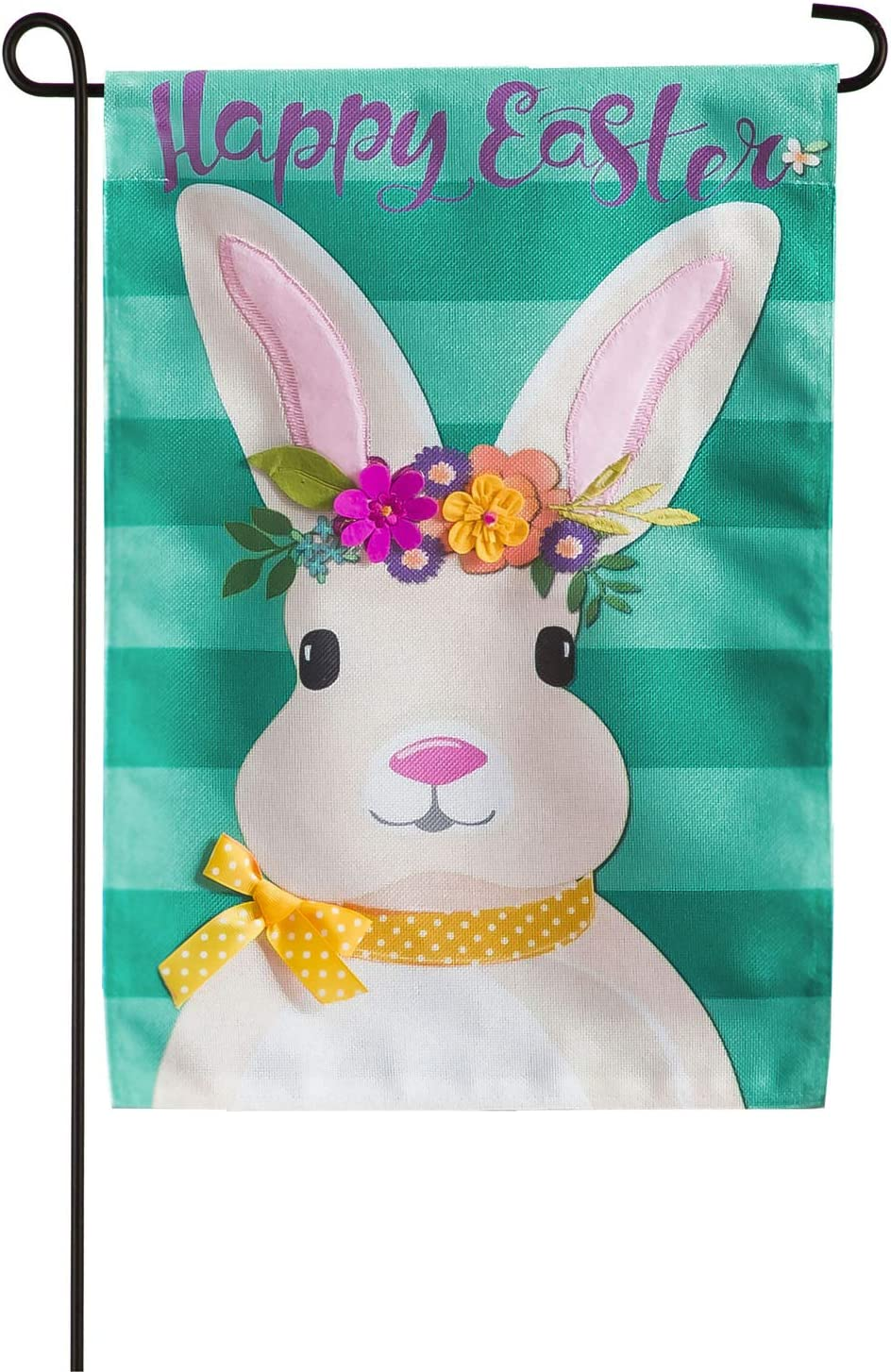Evergreen Flag Beautiful Spring Easter Bunny Burlap Garden Flag - 13 x 18 Inches Fade and Weather Resistant Outdoor Decoration for Homes, Yards and Gardens