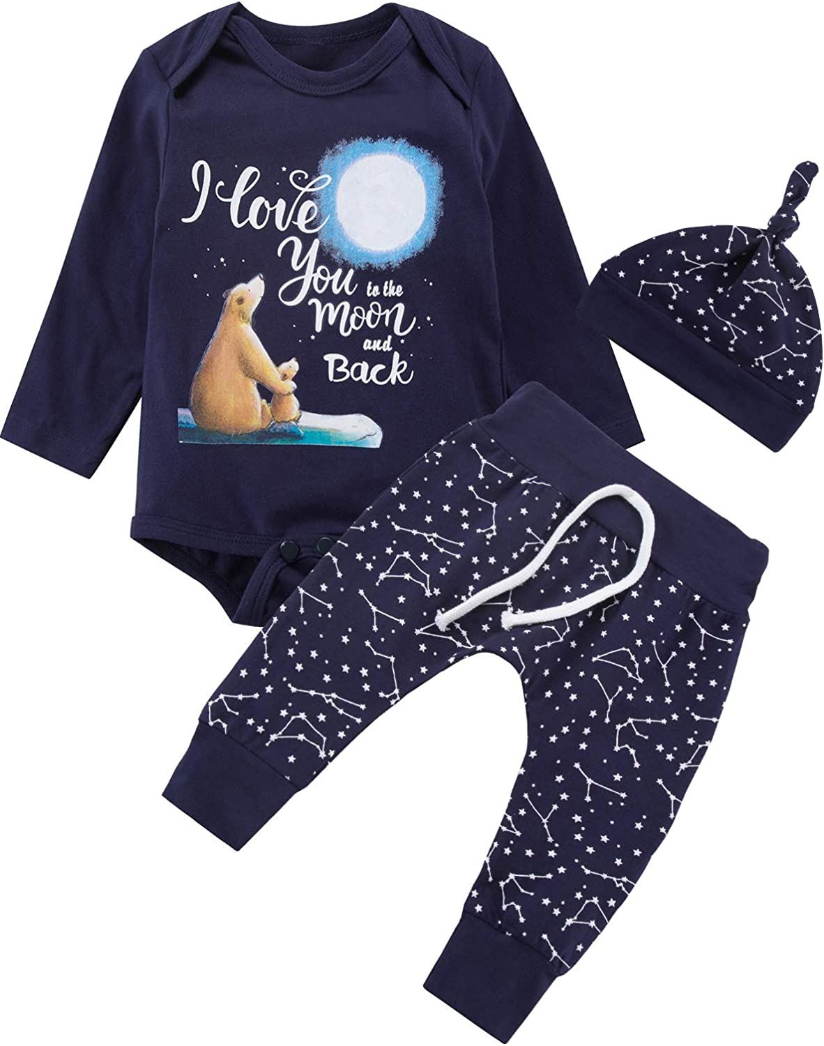 Baby Boys 3PCS Outfit Set to The Moon and Back Romper Long Pants with Hat