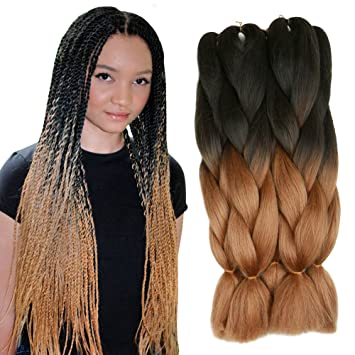Amazon 5 pieces 2 tone ombre braiding hair crochet braids 5 pieces 2 tone ombre braiding hair crochet braids synthetic hair extensions 24 inch black pmusecretfo Image collections